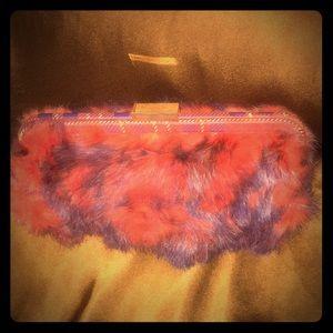 BCBGirls Genuine Fur and Suede Clutch